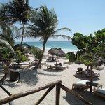 Vista para os móveis de praia do hotel