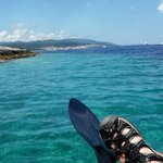 View from Kayak - looking back at the town of Korcula