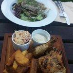 Tuna and roasted chicken