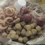 2 meat plate w/okra & fried onion tanglers