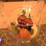 Panacotta de caramelo y frutas...