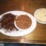 Pork plate with potato salad and baked beans:)