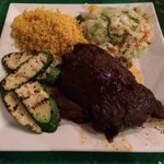 yellow rice, steamed cabbage, grilled zucchini, and root beer ribs