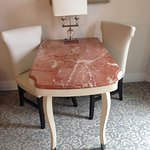 Marble desk with chairs