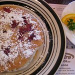 Pancakes with fresh raspberries and walnuts