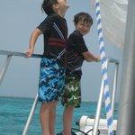 boys enjoying the gentle sailing