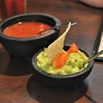 Salsa was fresh and cool, the guacamole was excellent if a bit small for two.