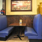 Booth in one section of the dining area of Lupe's in Elk City.