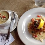 Crawfish chowder was excellent, but crab cake was disappointing.
