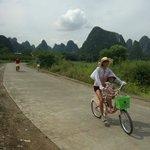 David family cycling at Yangshuo.