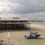 eateries on stilts along beach
