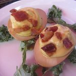 Pickled Bacon Deviled Eggs with Maple Gastrique