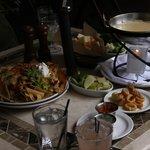Nachos, calimari, and Velveeta fondue