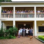Our group at the front of Pamoja Guesthouse