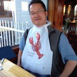 Preparing to eat lobster.