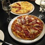 Highly Recommend the Chicken Chorizo Pizza (Front) and Mustard Fruit Pizza with Some Sopressa!