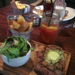 Steak main course with bloody mary
