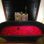 Complimentary flower petal bath