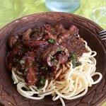 Primo: spaghetti e cinghiale