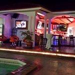 Bar and pool at night