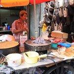 Very yummy dessert street vendor selling peanut cupcakes