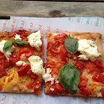 Tomato and mozzarella pizza.
