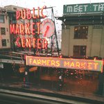 Awesome view of Pike Place Market from table through huge windows.