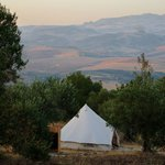 Our comfortable and spacious tent with a cracking view