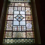 Inside stained glass window