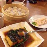 Xiao long bao (chicken and crab), tofu seaweed, shrimp salt eggs.