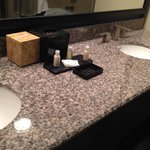 double sink in bath.