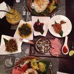 Nasi sayo, Soto Padang, Petai Kacamata, Rendang, Ayam Pop, Kangkung.