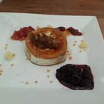 Baked goats cheese with chutneys, excellent
