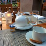 Tea service at the poolside restaurant