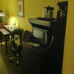 Mirowave, fridge, and coffee area