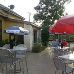 Outdoor Seating, note the umbrellas to help with the Texas Sun