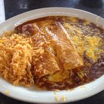 2 Cheese enchiladas with rice in beans. Very tasty. & Hot!! Enjoy!