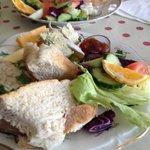 Ploughman's and smoked salmon sandwich