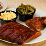 .   Rib Combo with Smoked Chicken, Two Sides and a Side Salad