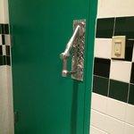Ladies restroom door handle