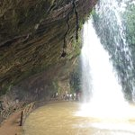 walking behind the waterfall