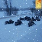 Snowmobilers warming up at MD's