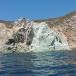 Clear water, bright white cliffs