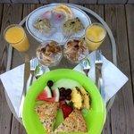 Breakfast served in a cute basket each morning