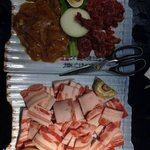 Raw chicken, beef, bacon
