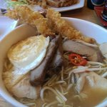 Sumo special ramen bowl with chinese pork, duck, chicken, beef, tempura prawn and a fried egg