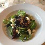 spring salad with vanilla cheese