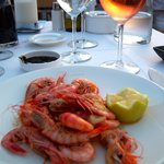Prawn starter - absolutely delicious (fab rosé in the background!)
