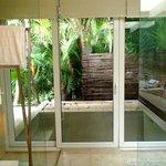 double shower with door to outdoor tub