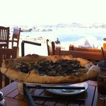 Pizza con bonitas vistas